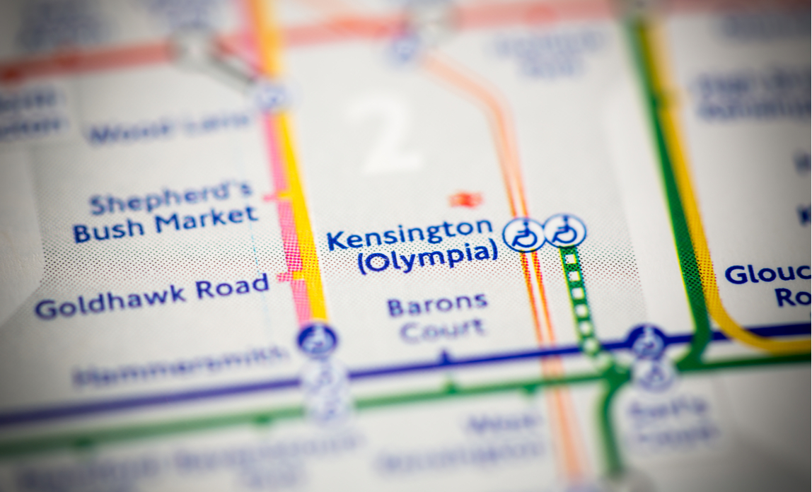 Kensington Olympia metro station on a map