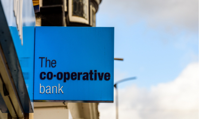 The Cooperative Bank bank logo sign in Northampton town centre