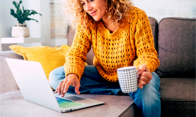 A women works from home on her laptop