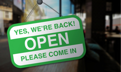 We're open again after quarantine sign.