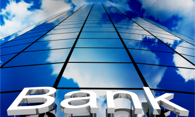 Bank sign on skyscraper