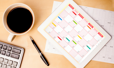 Calendar with key filing dates marked on it