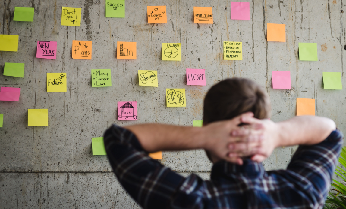 An entrepreneur looking at a wall filled with sticky notes